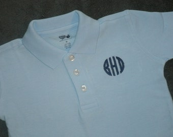 Toddler Youth Polo, SHORT SLEEVE Monogrammed Polo Shirt,  Personalized School Uniform