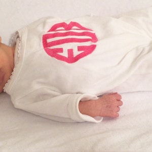 Monogrammed Coming Home Outfit 0-3 Month Personalized Baby Sleeper Romper 3-6 Month 6-12 Month