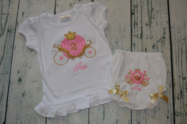 aea58214b PERSONALIZED Birthday Princess Carriage Shirt & Bloomer set | Etsy