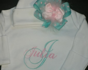 Personalized Infant Gown and Cap with Bow Monogrammed