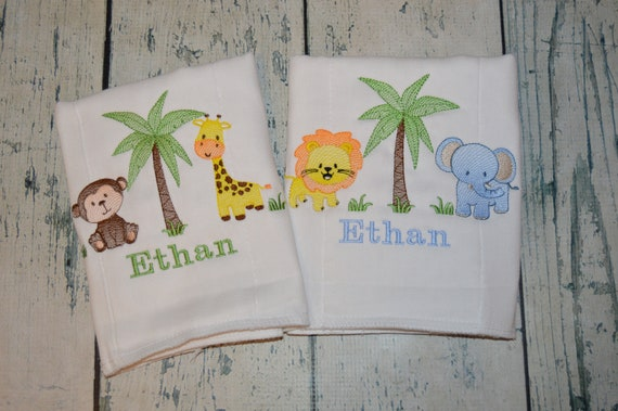 Jungle Monkey Baby Shower GIFT Lion /& Elephant On Safari Set of 3 Baby Bibs