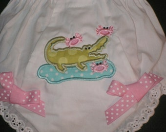 Baby Bloomers - Monogrammed Alligator fishing Crabs Bloomer Diaper Cover personalized