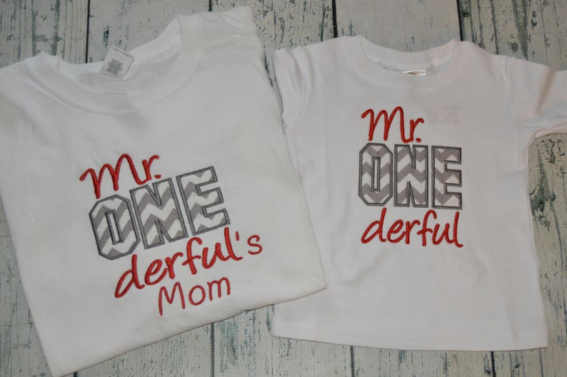 Mr ONE Derful Birthday Shirt Or Bodysuit MOM TEE First