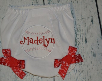 Personalized Baseball Bloomers Monogram Bloomer Diaper Cover
