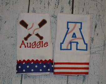 Personalized Baseball Burpcloth Set of 2 Burp Cloths