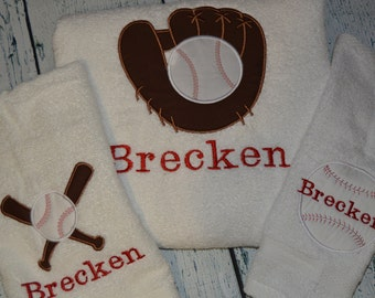 PERSONALIZED Childrens Bath Towel SET Baseball Theme