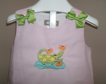PERSONALIZED Alligator and Crab Aline Monogrammed A-Line Jumper