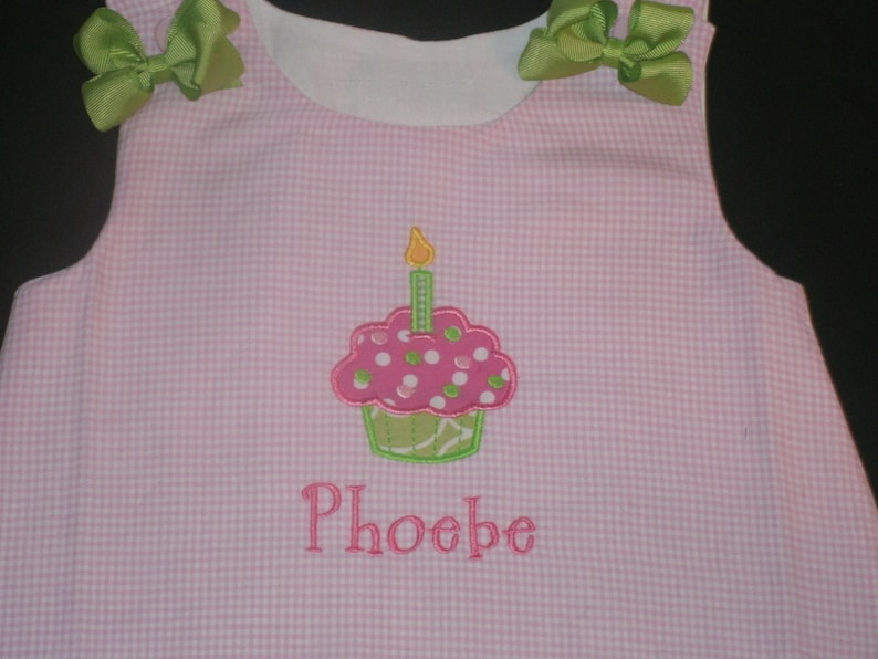 8627fd9d137f Personalized Birthday Cupcake Dress Girls Birthday Dress