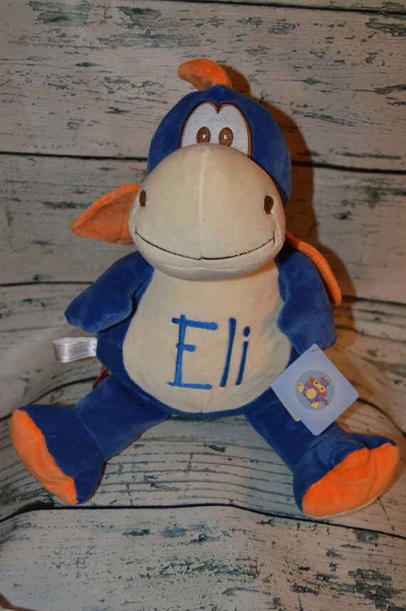 Personalized Blue Dragon Stuffed Animal Personalized Gift Personalized Baby Birth Stats Monogrammed Baptisim Gift Personalized Plush Toy