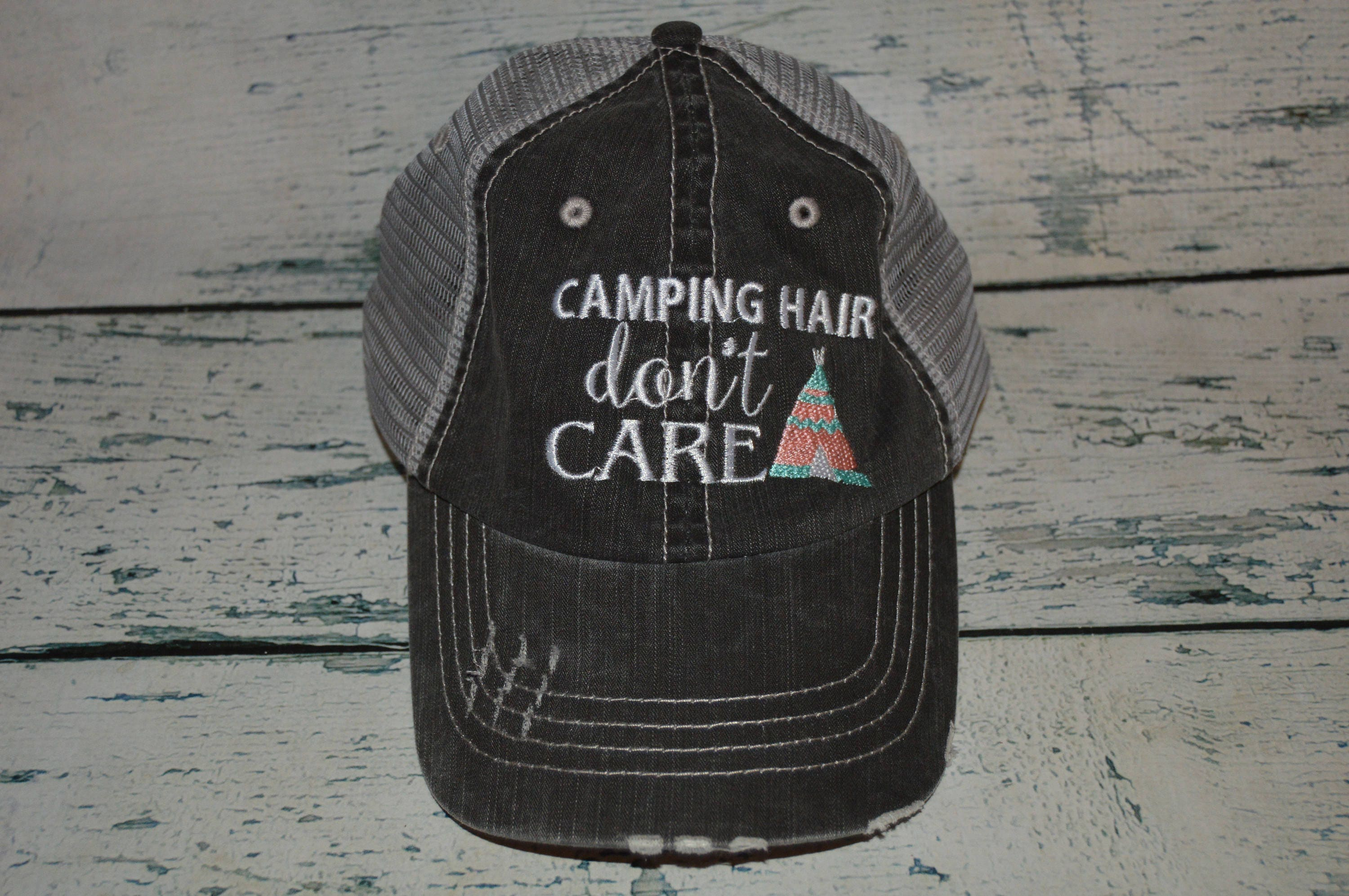 d9884f20a3e Camping Hair don t Care Distressed Trucker Hat Womens