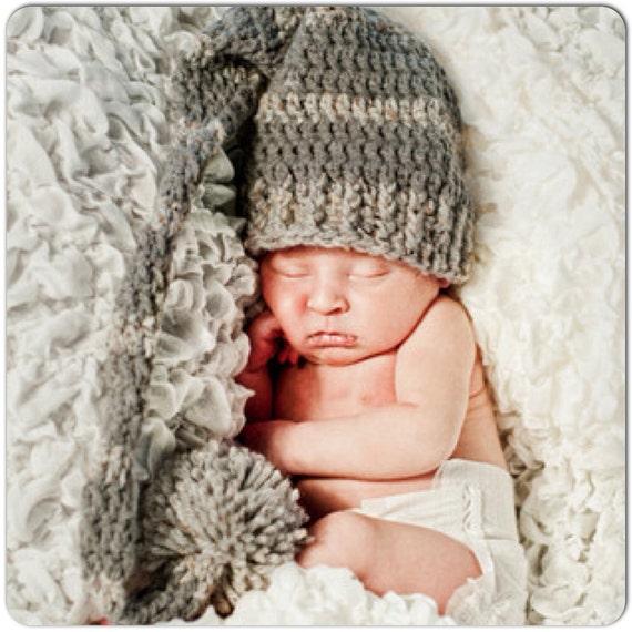 CROCHET BABY PURE WHITE FUR LONG TAIL ELF HAT ~ BABY LONG TAIL ELF HAT