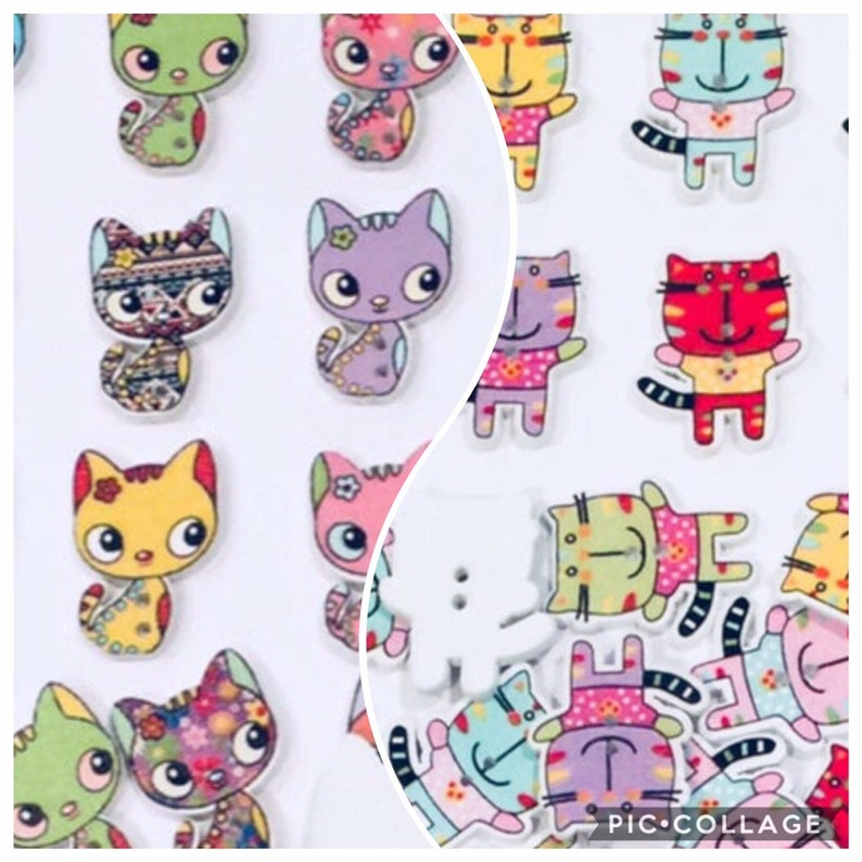 50 Wooden Cartoon Animal Shaped Buttons for Kid Craft Sewing Scrapbook Garment
