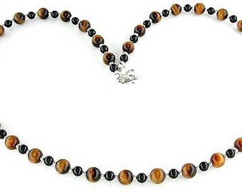 Tiger Eye Necklace with Black Onyx and Sterling Silver - Small to X-Large
