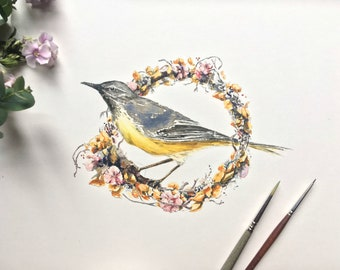 Wagtail on Wreath, original watercolor illustration