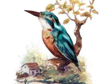 Kingfishers Rest - Original A5 art print