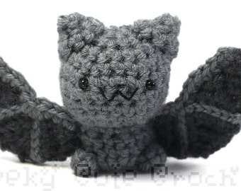 Gray Bat Amigurumi crochet stuffed plush toy cute