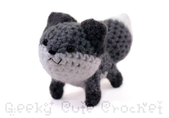 Gray Fox Plushie Toy Stuffed Animal Amigurumi Crochet Etsy
