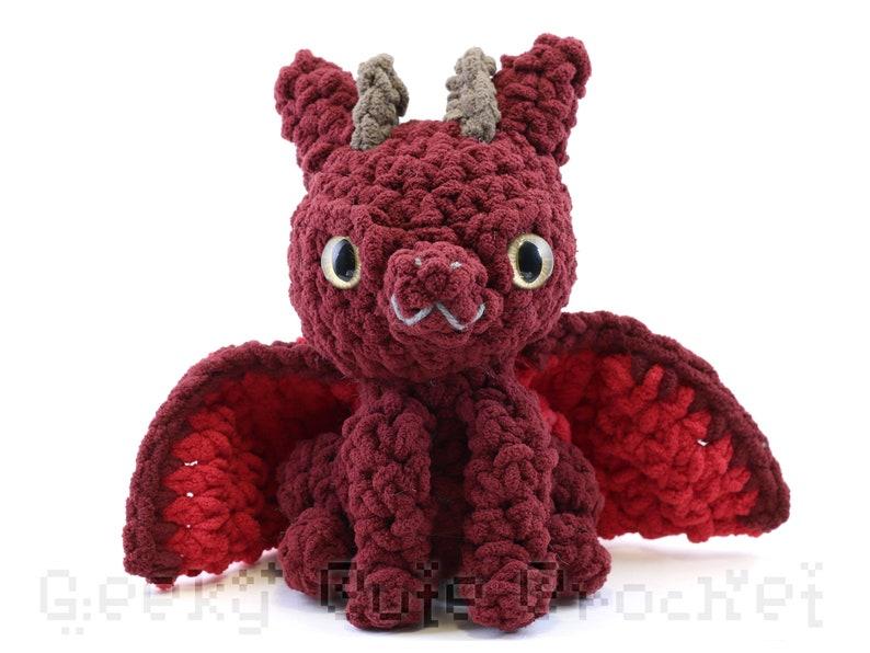 Dark Red Large Dragon Plush Toy Stuffed Animal Amigurumi Crochet