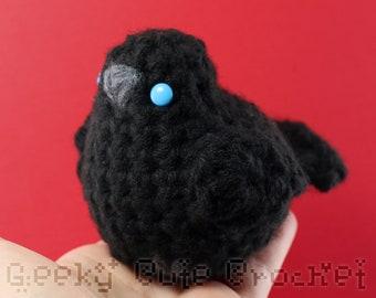 Large Black Bird Crow Raven Plush Toy Stuffed Animal Amigurumi Crochet