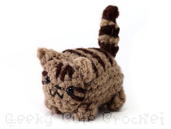 Brown Tabby Kitty Cat Yama Amigurumi Plush Toy Crochet Stuffed Etsy