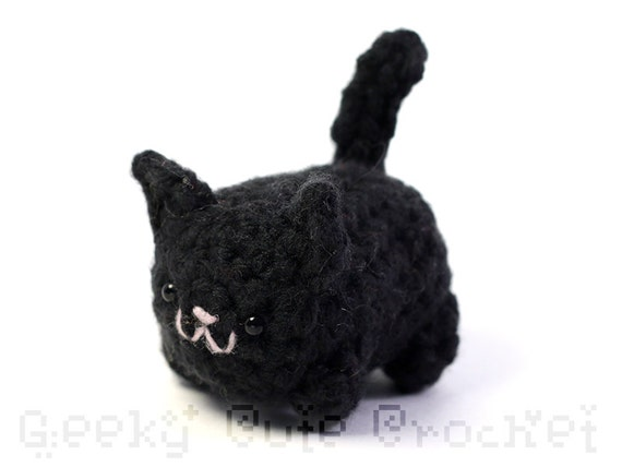 Black Kitty Cat Yama Amigurumi Plush Toy Crochet Stuffed Etsy