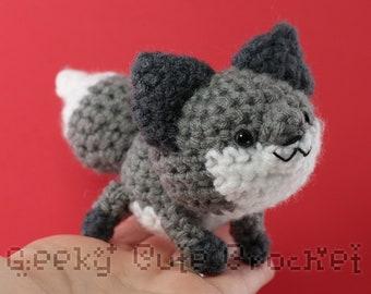 Gray Fox Plushie Toy Stuffed Animal Amigurumi Crochet