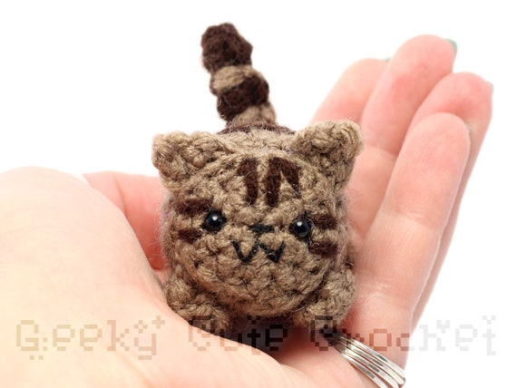Brown Tabby Kitty Cat Yama Amigurumi Plush Toy Crochet Stuffed Etsy