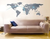 NEW DESIGN Wall Art Home Decors Murals Vinyl Decals Stickers---WORLD MAP