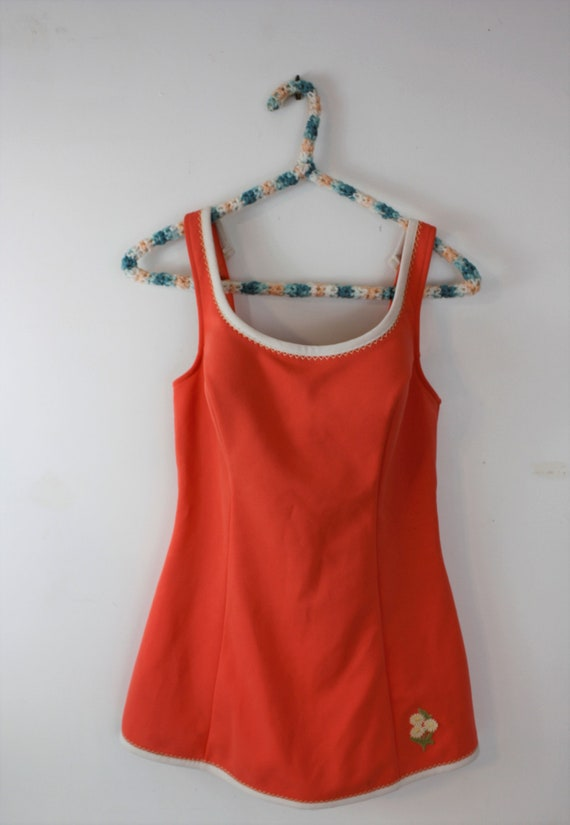 1960s swimsuit one piece with built in skirt and … - image 2