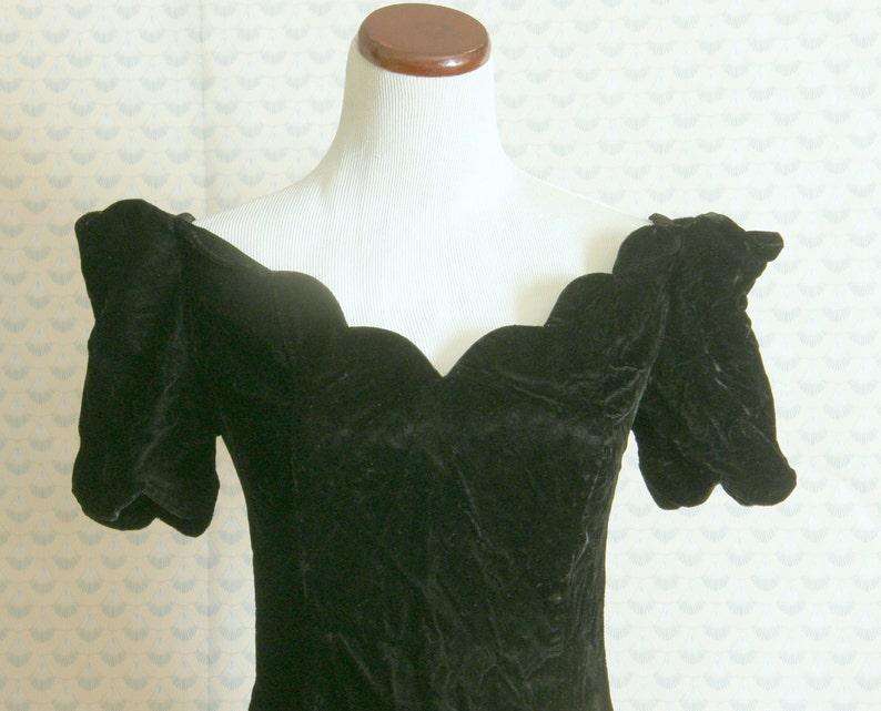 80s velvet off the shoulder cocktail mini dress with scalloped neckline