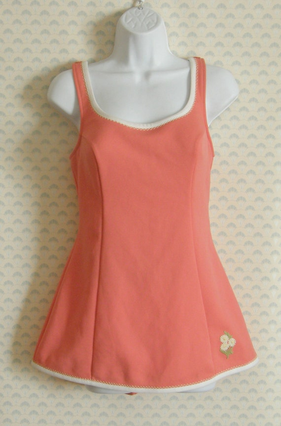 1960s swimsuit one piece with built in skirt and … - image 3