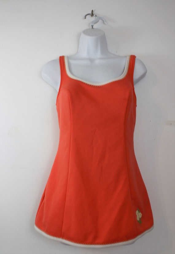1960s swimsuit one piece with built in skirt and … - image 1