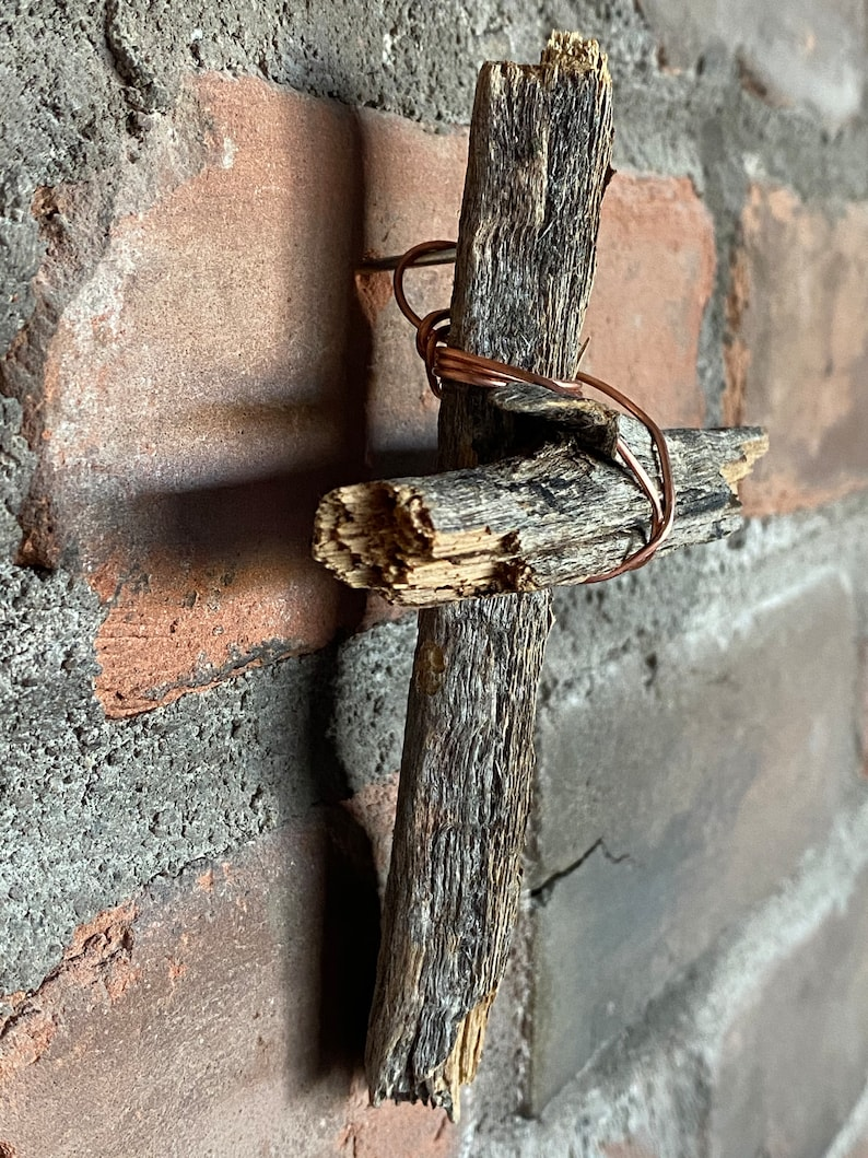 Wood cross wrapped up in copper wire cross #114