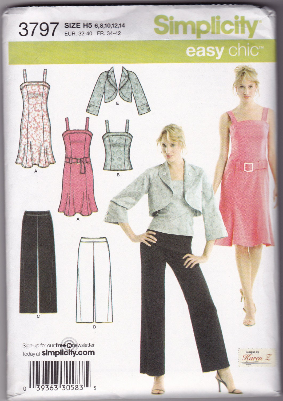 Simplicity 3797 Easy Chic Bolero Jacket Cropped Gaucho Pants   Etsy
