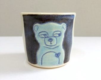 Small Blue Bear Cup with Creepy Cloud, Shot Cup or Ceramic Shot Glass or Child's Cup, Animal Pottery (BLBR1)