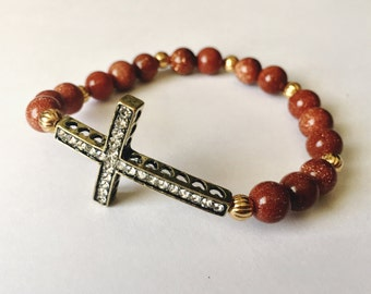 Cross Bracelet.Religion Jewelry.Crucifix Bracelet.Goldstone Beads.Christian Bracelet.Sideways Cross Bracelet.Rhinestone Cross. Gift for her