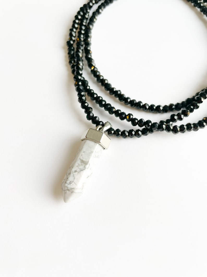 Long Beaded Necklace Layering Necklace Beaded Crystal Necklace Black Beaded Jewelry Crystal Pendent Necklace Quartz Pendent Necklace