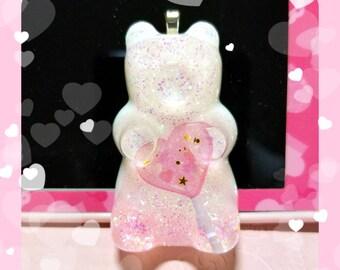 Pink heart lollipop gummy bear necklace or keychain