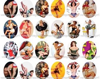 INSTANT DOWNLOAD...Vintage Pinups... 30x40mm Oval Images Collage Sheet for Pendants ...Buy 3 get 1