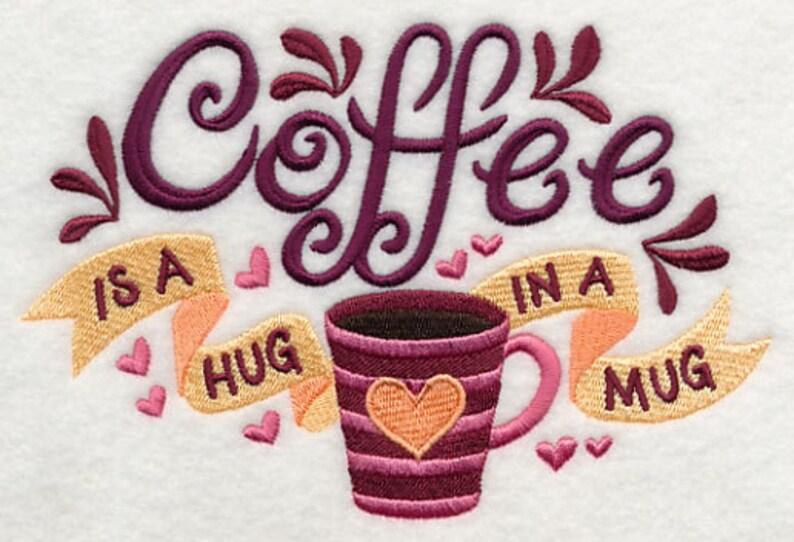 COFFEE HUG Embroidery on Ladies  Sweat by Rosemary image 0