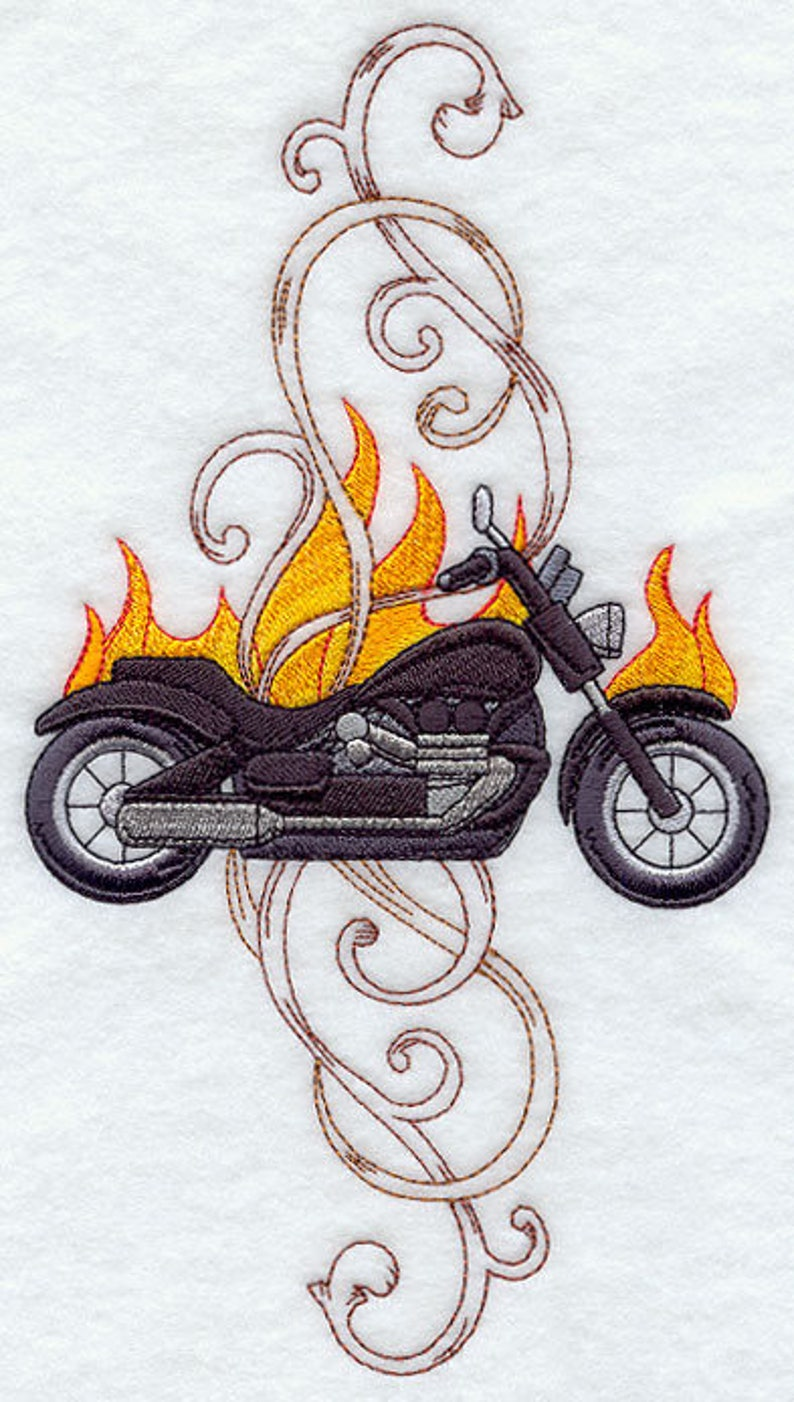 MOTORCYCLE EMBROIDERY on Tee or  Sweat by Rosemary image 0