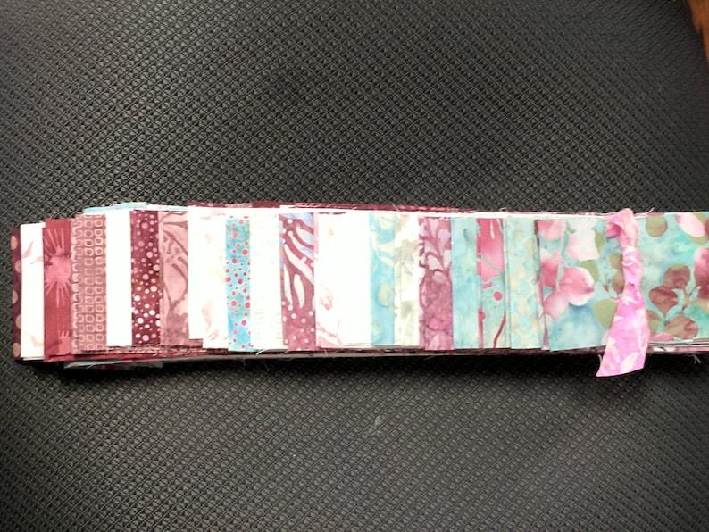 60% OFF-40 pc Set  RASPBERRY Mint Cotton Batik Jelly Roll image 0