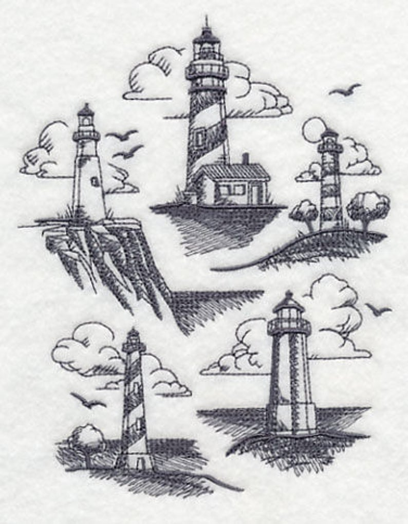 LIGHTHOUSE COLLECTION EMBROIDERY on Tee or   Sweat by Rosemary image 0