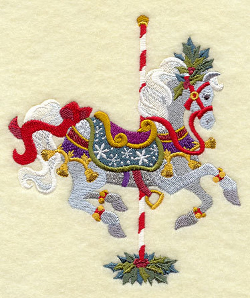 CHRISTMAS CAROUSEL HORSE Embroidery on  Sweat or Tee by image 0