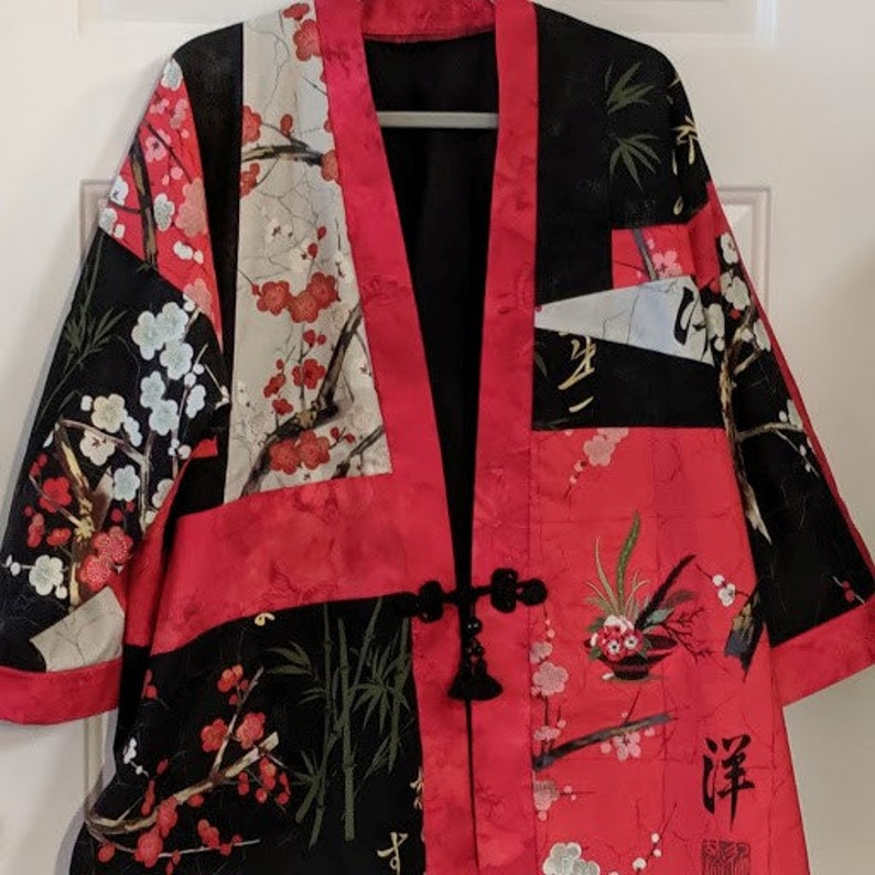 RED BLACK & GREY Oriental Patchwork Jacket by Rosemary image 0
