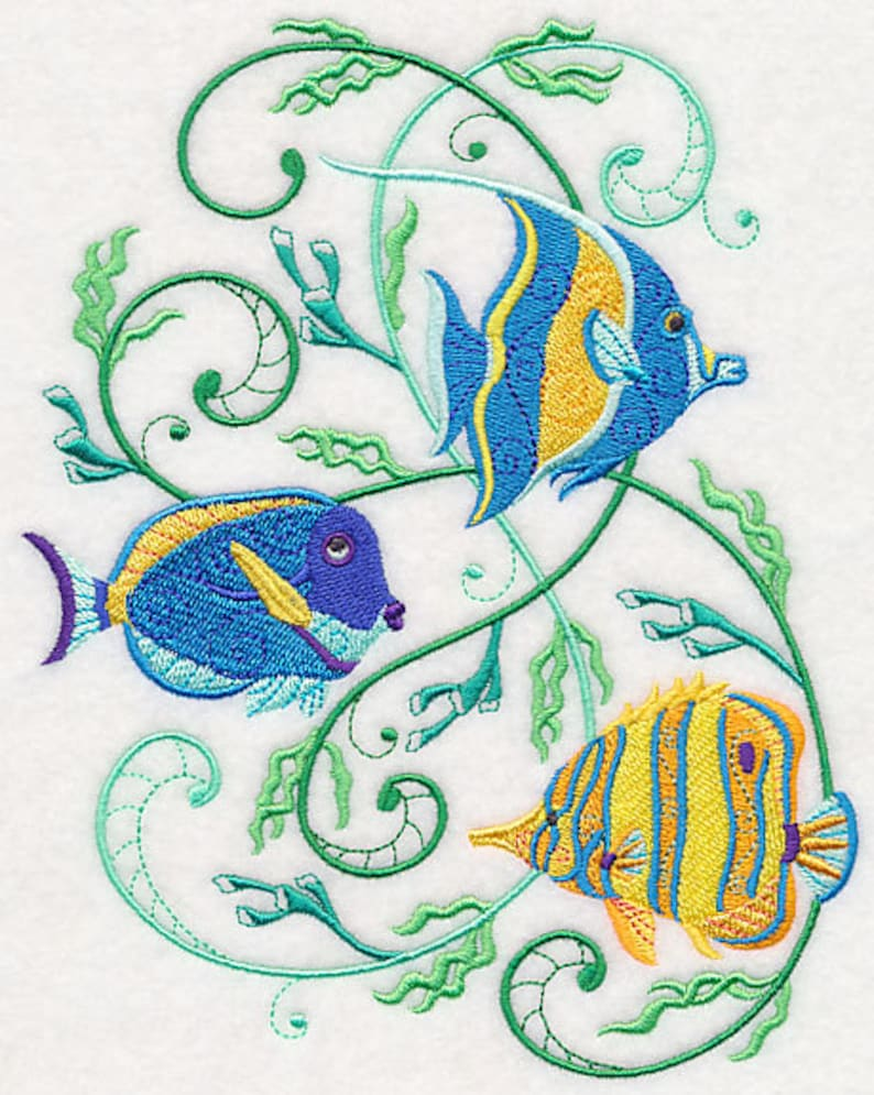 TROPICAL FISH SWIRLS Embroidery on Ladies Tee or Sweat image 0