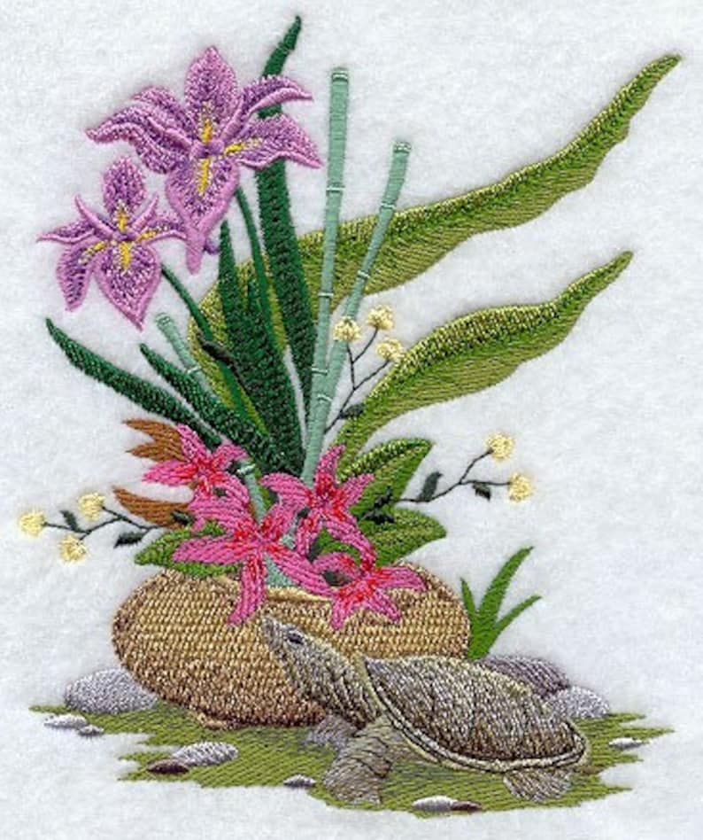 IKEBANA WITH TURTLE on Ladies'  Sweat by Rosemary image 0