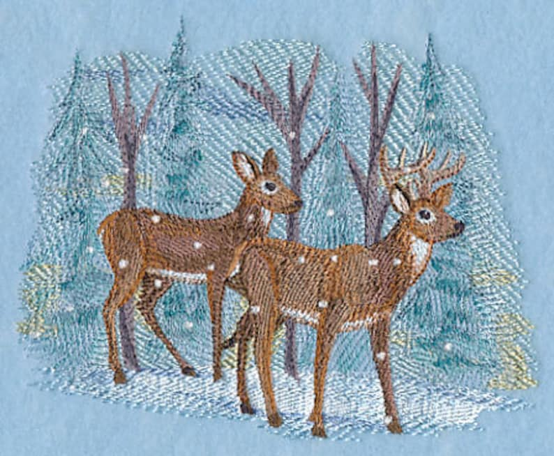 WINTER DEER EMBROIDERY on Tee or Sweat by Rosemary image 0