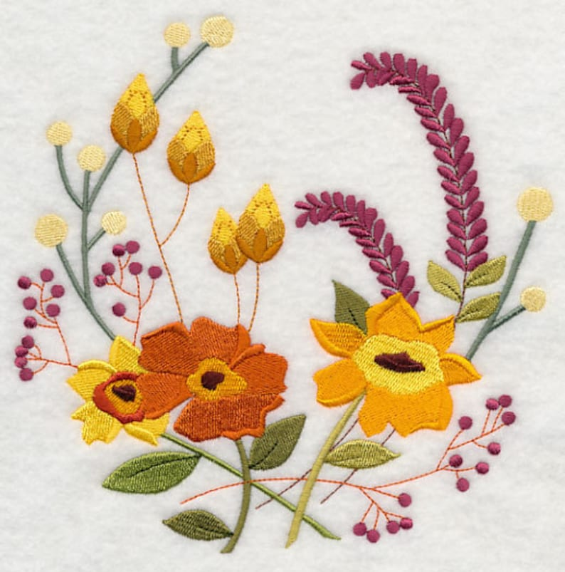 AUTUMN FLOWERS Embroidery on  Tee or Sweat by Rosemary image 0