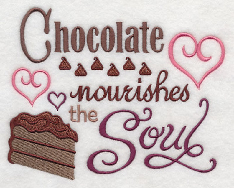 CHOCOLATE NOURISHMENT Embroidery on  Sweat by Rosemary image 0